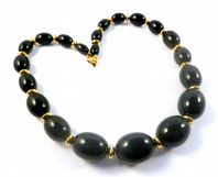 Vintage Chunky Napier Black And Gold Bead Necklace.